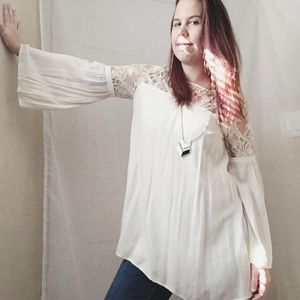 Forever 21 Boho Long Sleeve Lace Top SIze Small